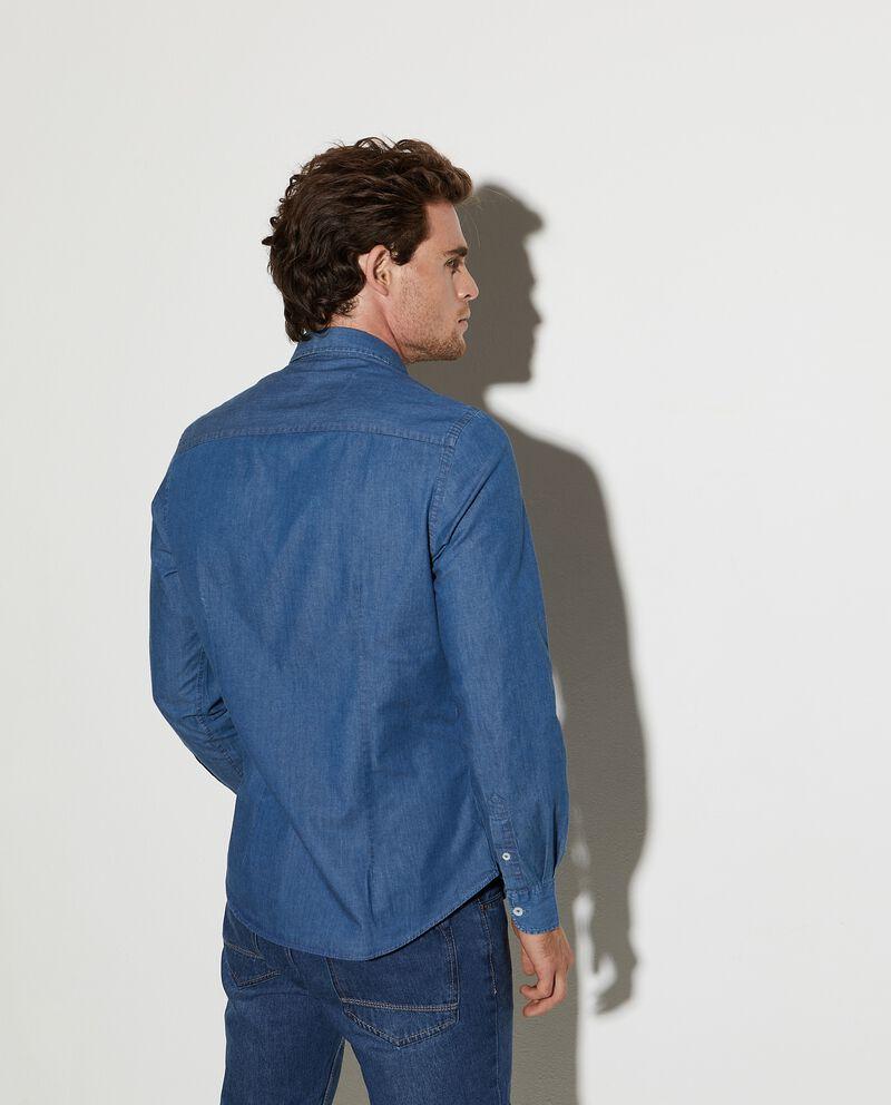 Camicia in denim puro cotone slim fit uomo single tile 1