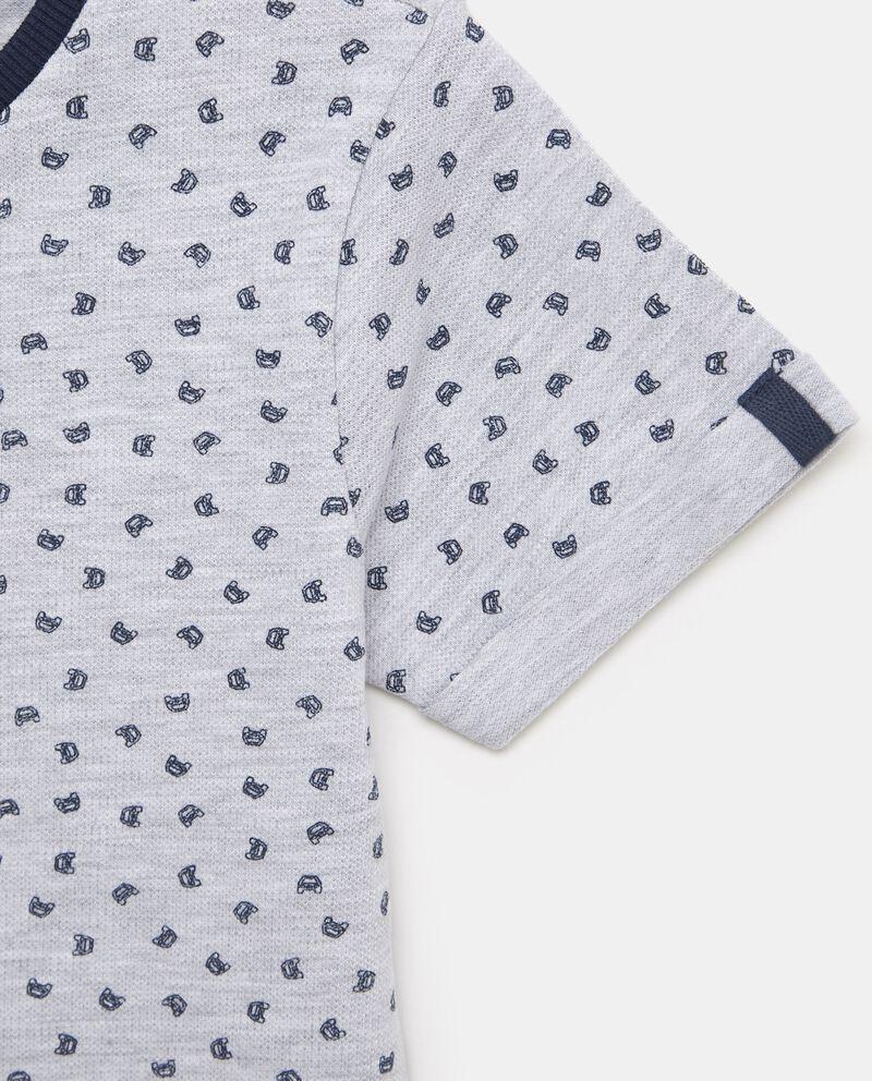 T-shirt in cotone misto elastane con micro fantasia bambino