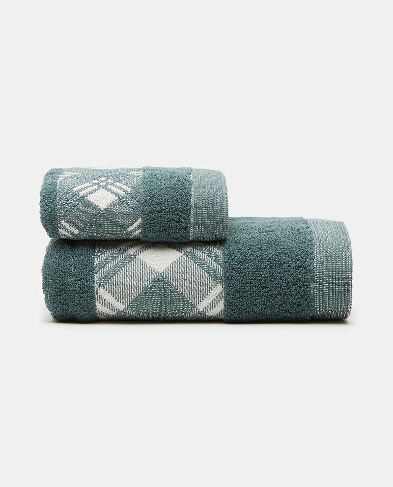 Asciugamano mani in puro cotone con bordo scozzesedouble bordered 0