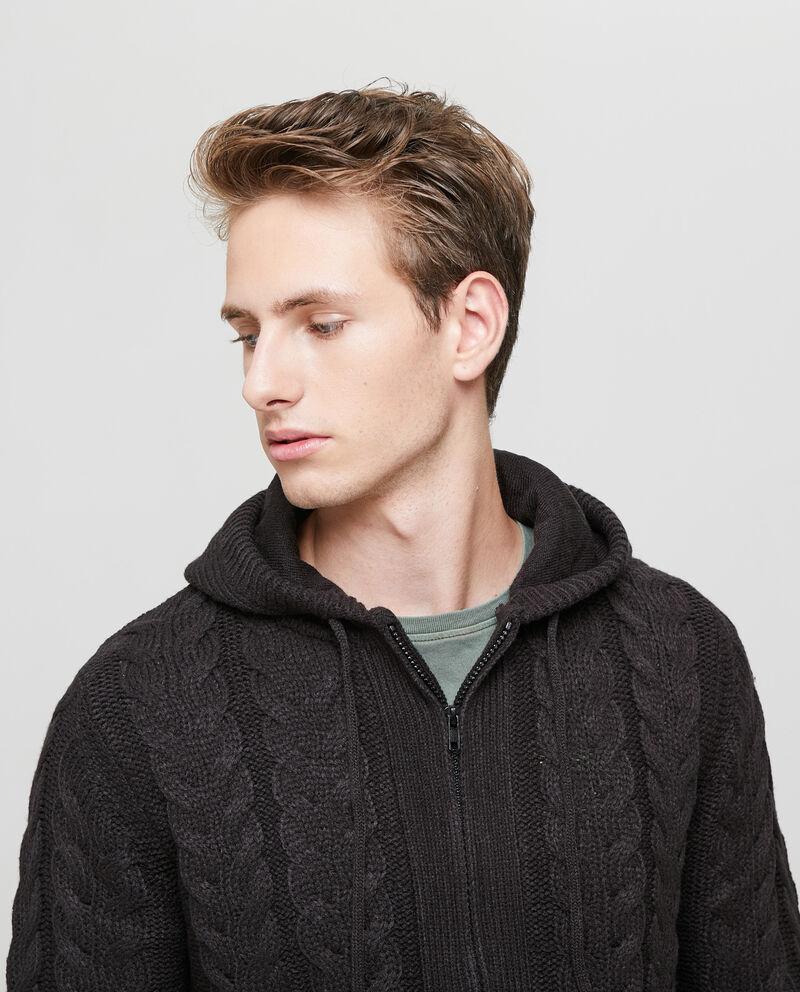 Cardigan tricot con cappuccio