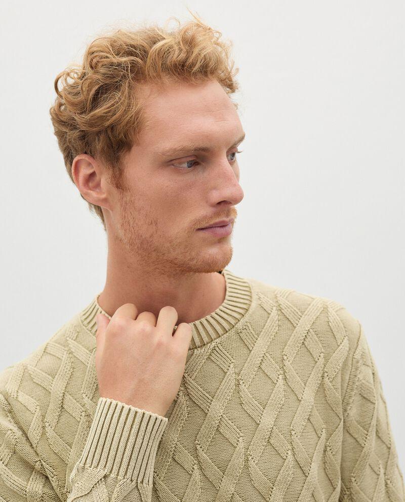 Pullover intrecciato in puro cotone uomo single tile 2