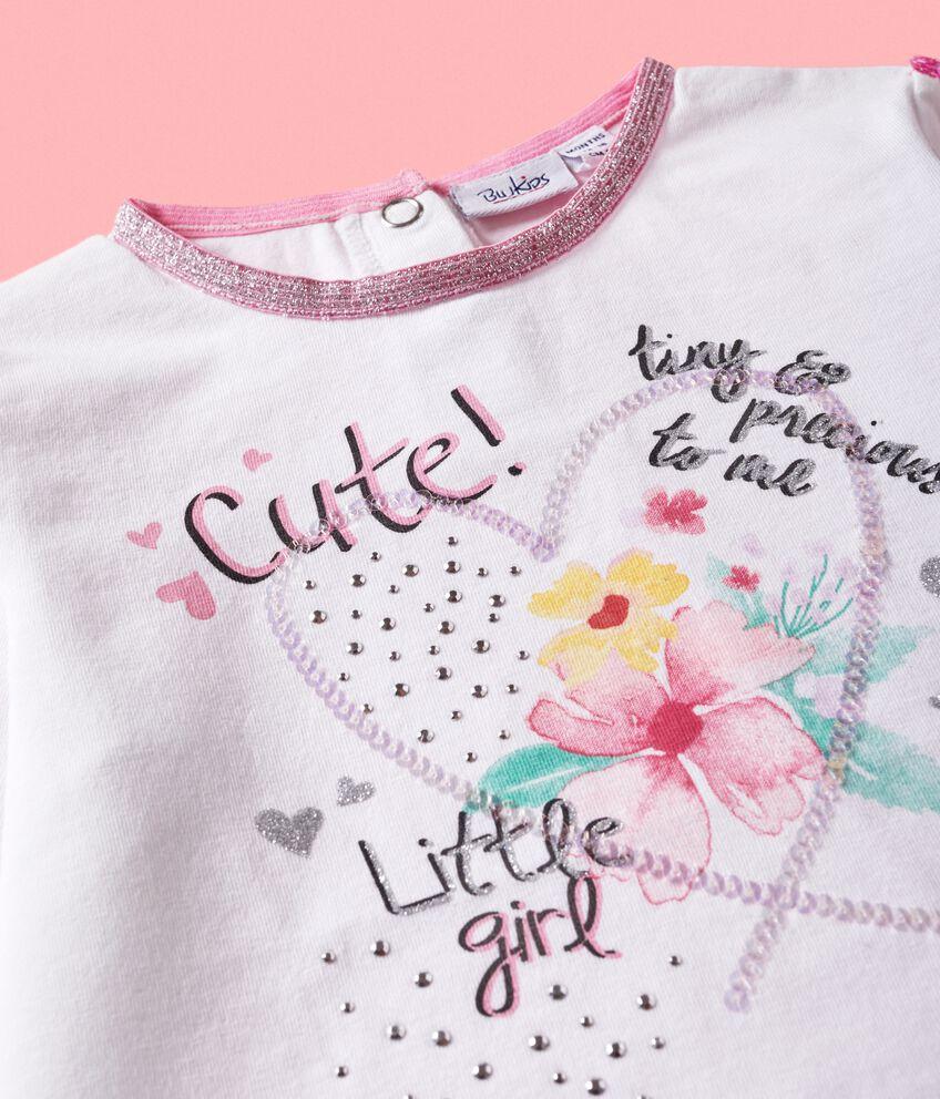 Maglia stampata con bande in paillettes neonata