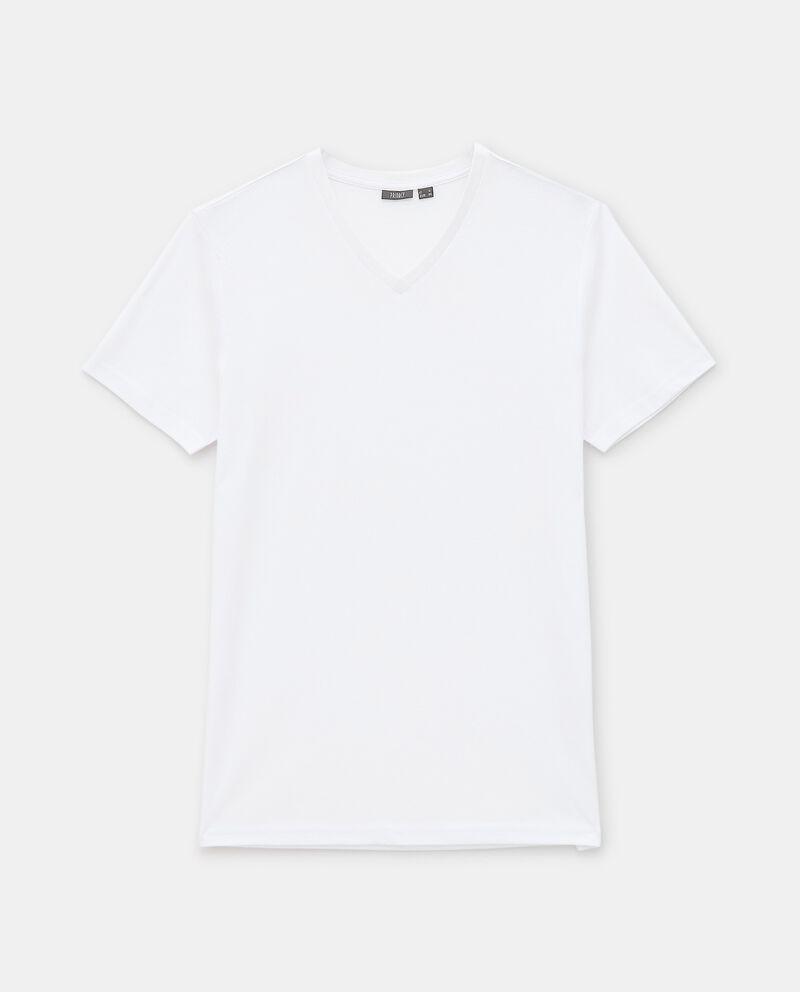 T-shirt intima di cotone organico con scollo a V uomodouble bordered 0