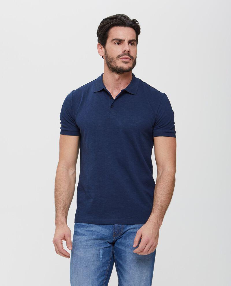 Polo blu in puro cotone effetto mélange uomo