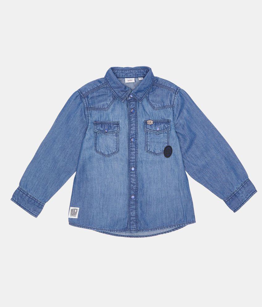 Camicia in cotone biologico denim neonato