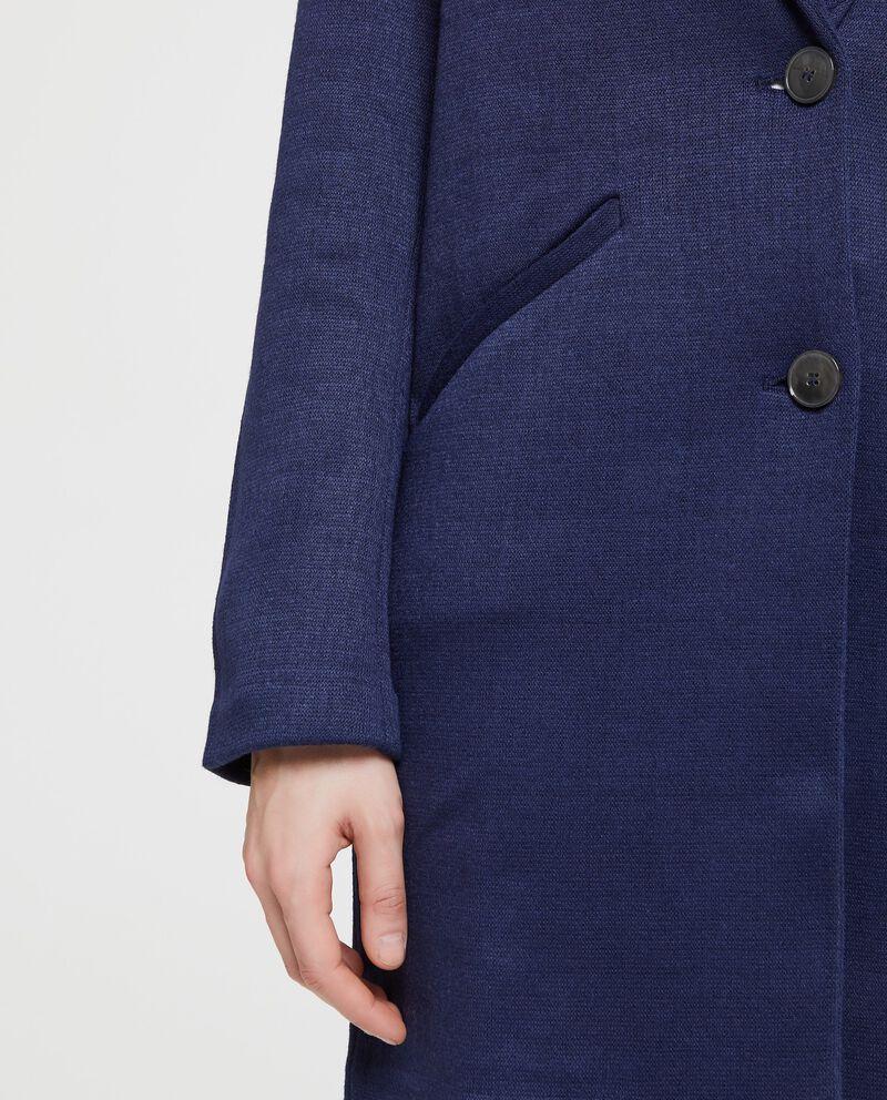 Cappotto in felpa in tinta unita blu