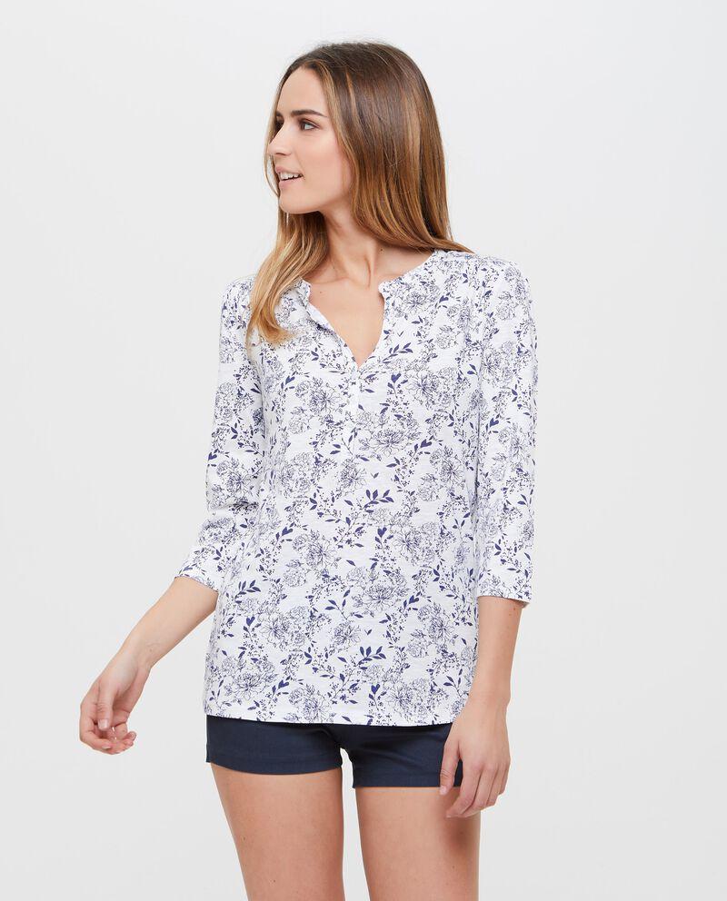 Blusa in cotone floreale con apertura
