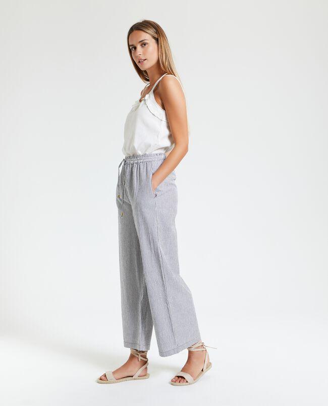 Pantaloni in puro cotone a righine donna