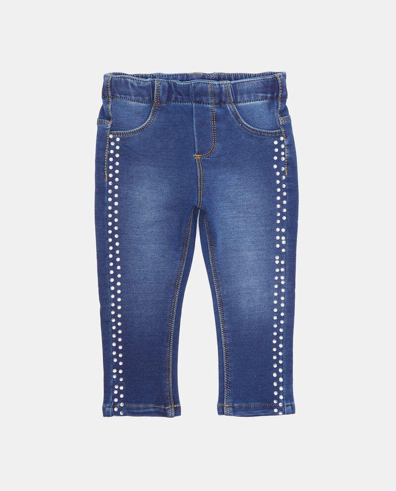 Jeans con bande laterali con perline neonata