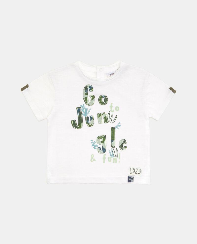 T-shirt in puro cotone con lettering neonato cover