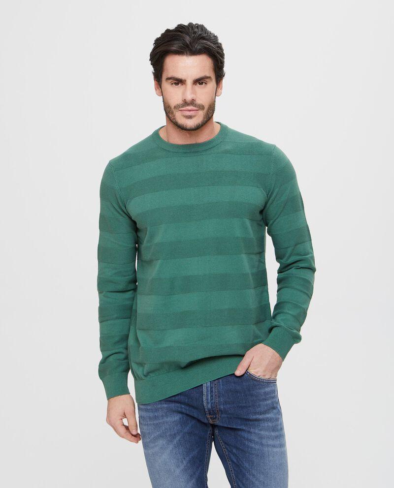 Maglione a righe verde girocollo