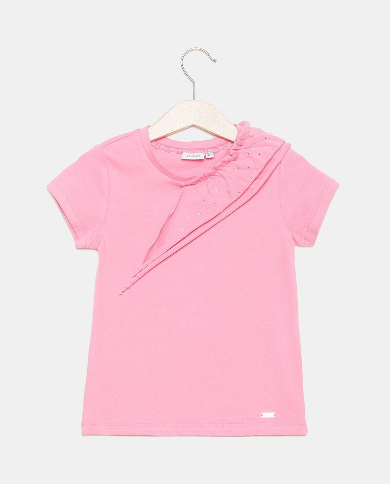 T-shirt in cotone organico con dettaglio ruche sul fronte bambina cover