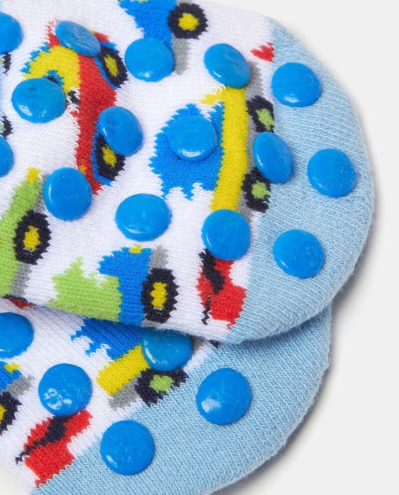 Calzini antiscivolo in cotone elasticato con fantasia neonato