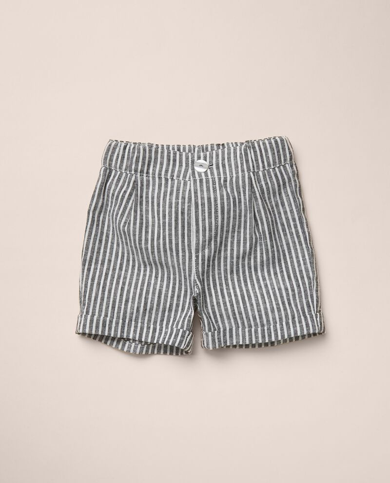 Pantaloni corti a righe in misto lino tinto filo MADE IN ITALY cover