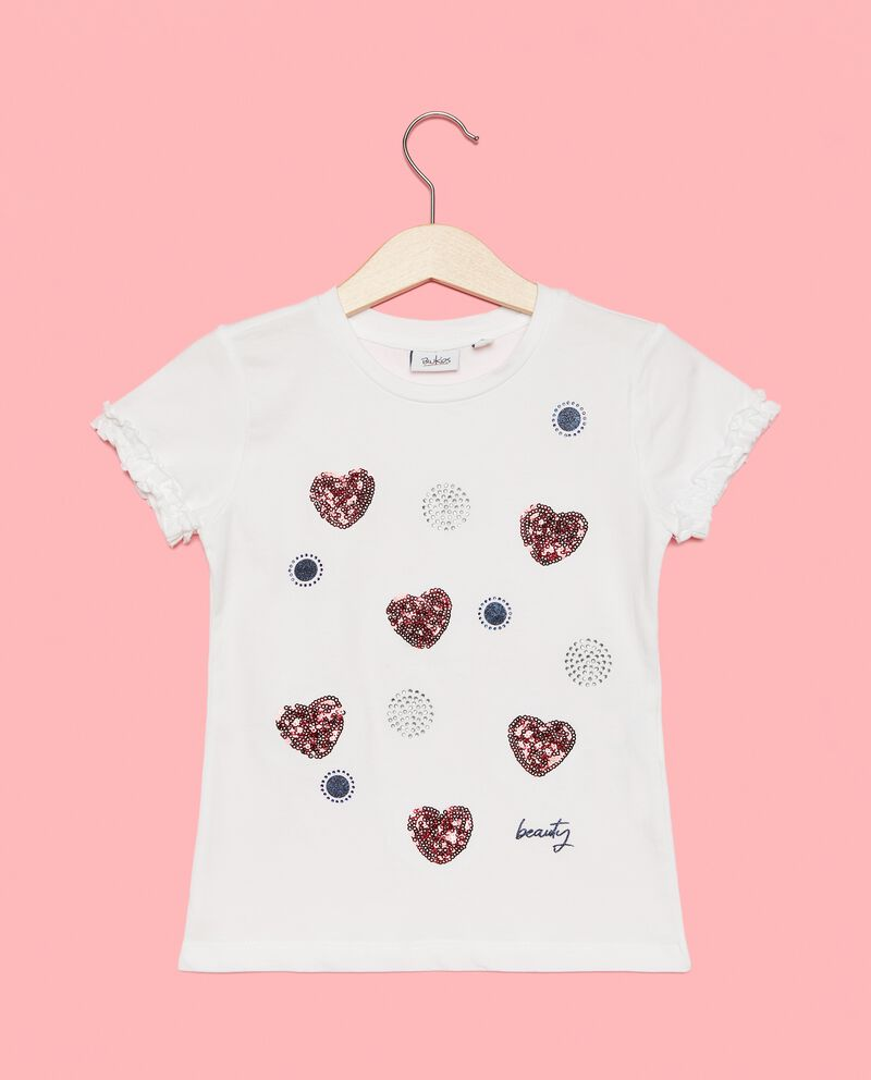 T-shirt con strass e paillettes bambina