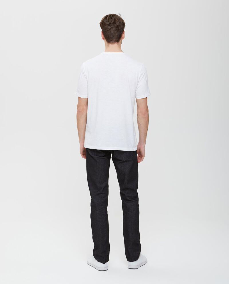 T-shirt in puro cotone con tasca patchwork