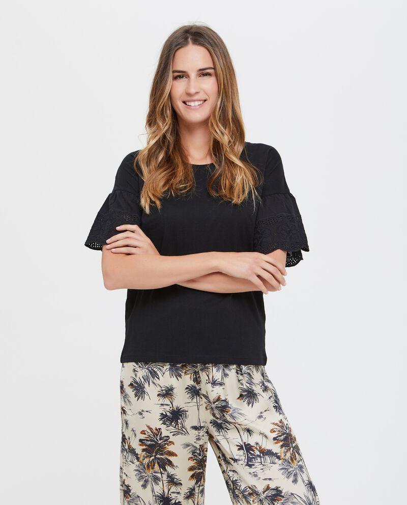 Maglietta donna in puro cotone a maniche corte con ricamo