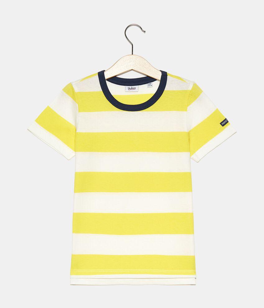 T-shirt rigata tinto filo in cotone organico jersey bambino double 1