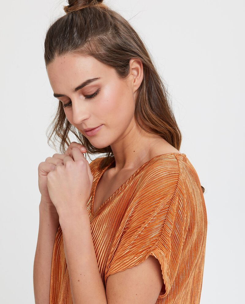 Blusa arancione a maniche corte plissé in lurex