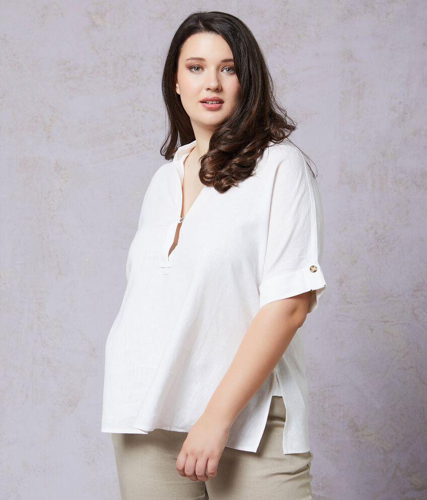 Camicia in lino misto viscosa tinta unita Curvy donna