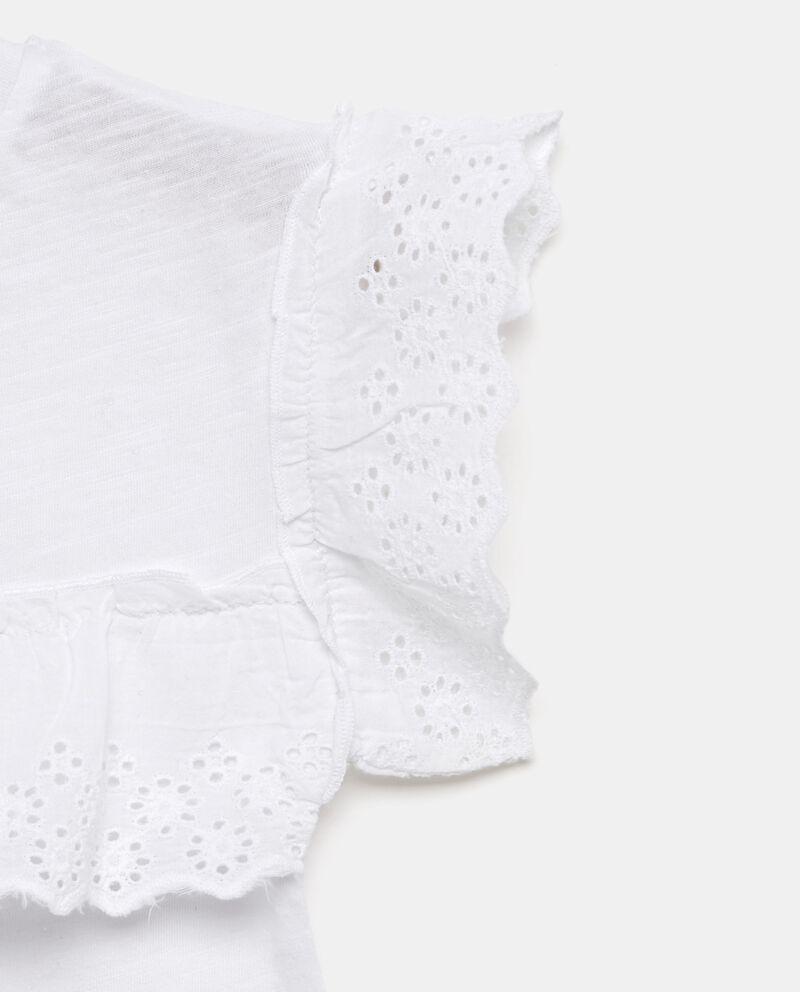 T-shirt in puro cotone con volant sulle maniche bambina