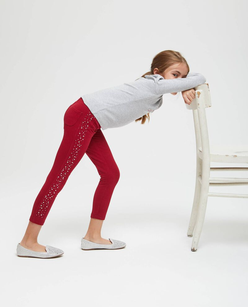 Pantaloni tinta unita strass sui lati
