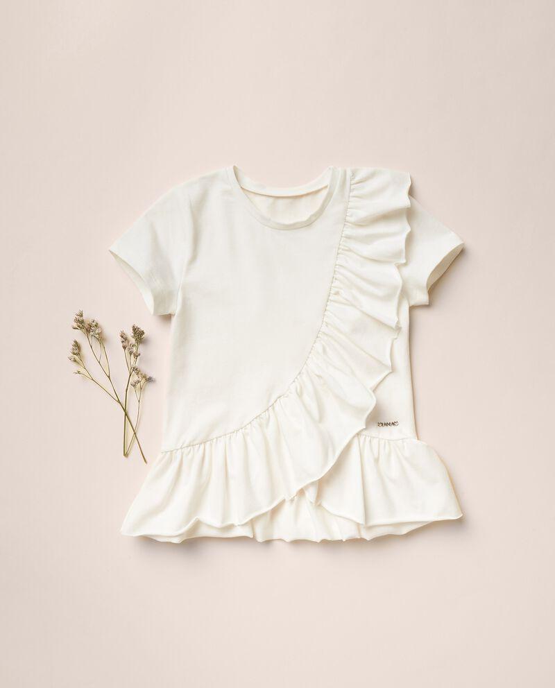T-shirt di cotone stretch con ruffledouble bordered 0