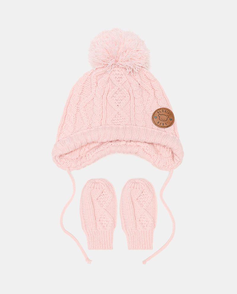 Set con berretto e manopoline in maglia neonatadouble bordered 0