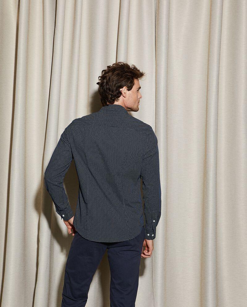Camicia con micro fantasia in puro cotone slim fit uomo
