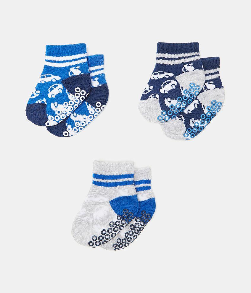 Set con 3 paia di calzini antiscivolo di cotone organico neonato double 1