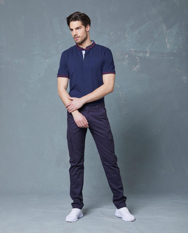 Pantaloni blu in puro cotone con tasche uomo