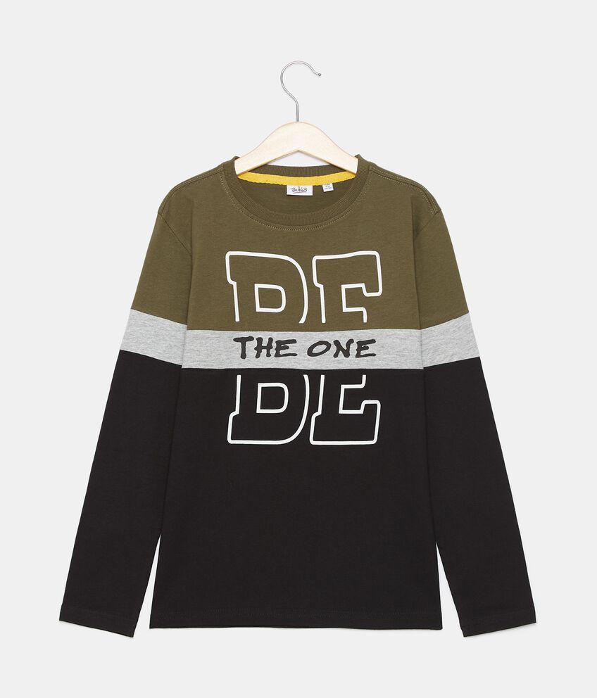 T-shirt in cotone organico jersey con stampa ragazzo double 1
