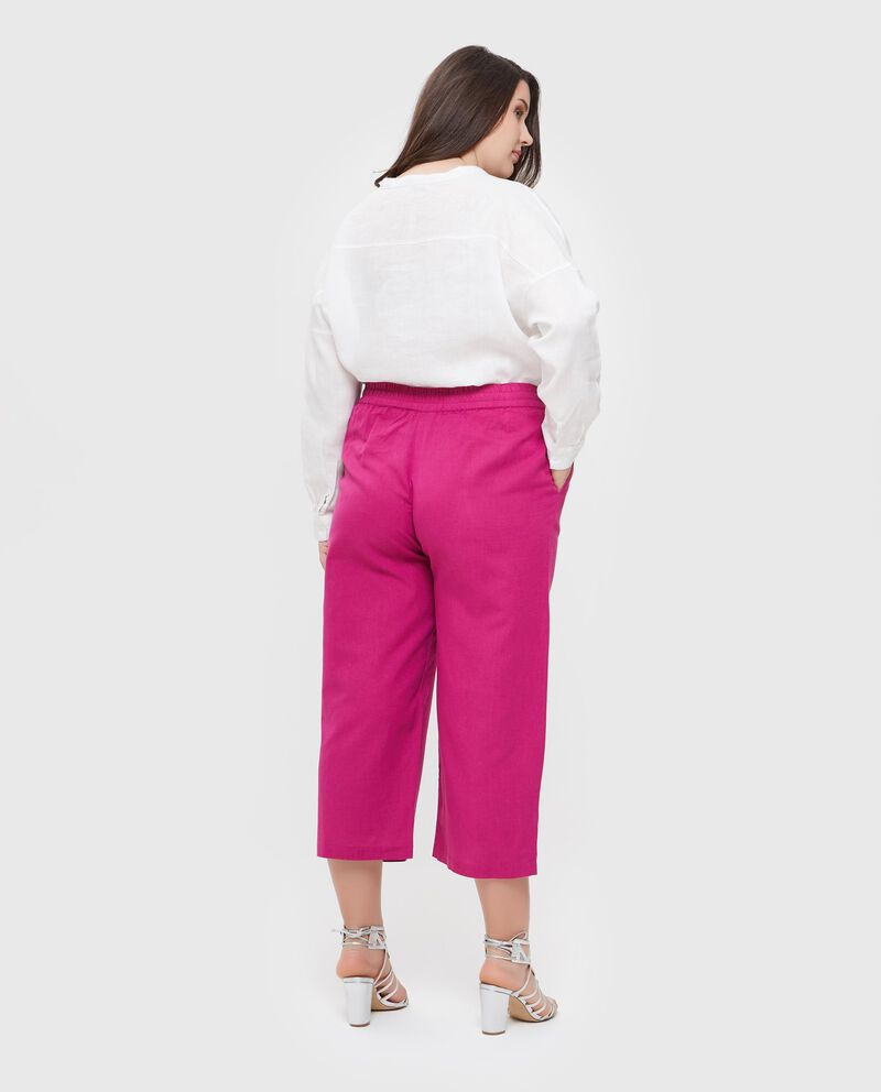 Pantaloni in cotone misto lino Curvy donna
