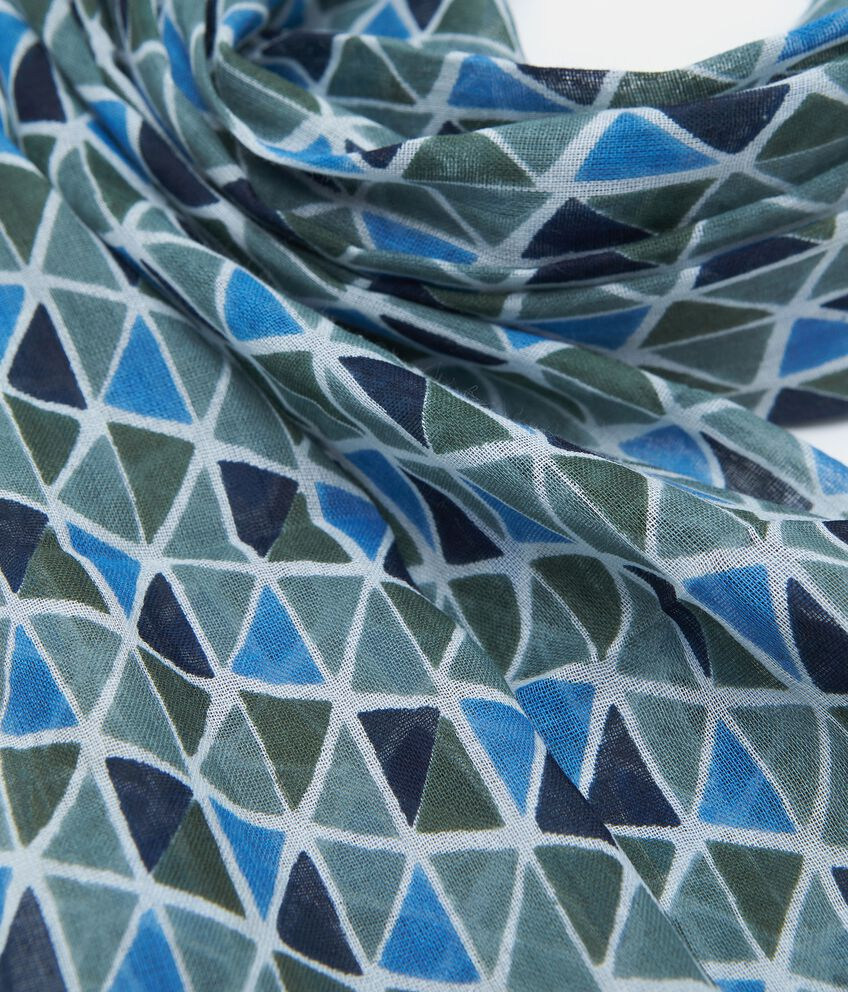 Sciarpa in puro cotone fantasia geometrica uomo double 2