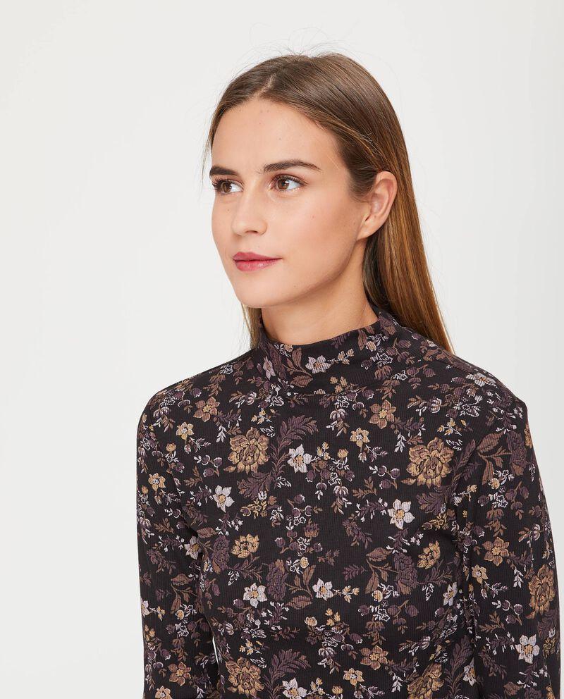 T-shirt collo alto fantasia floreale