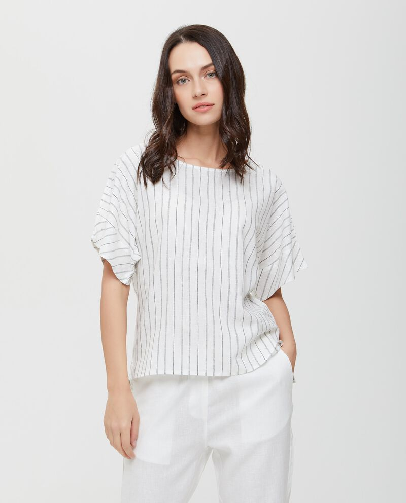 Blusa beige in lino e cotone a righe donna