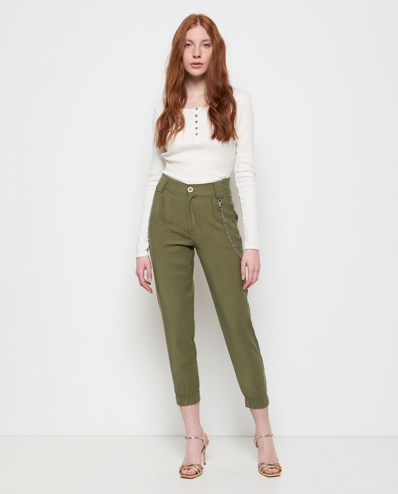 Pantaloni con catenina in viscosa stretch cover