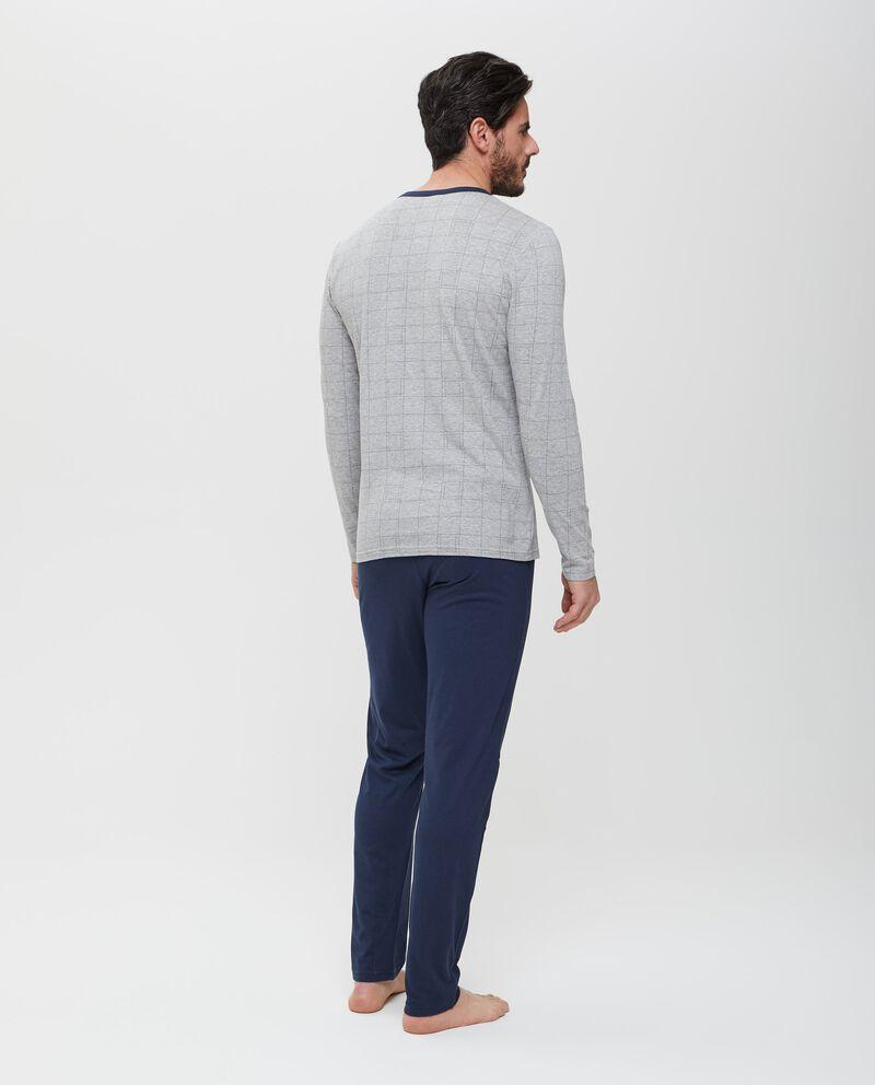 Top pigiama in puro cotone grigio a maniche lunghe uomo