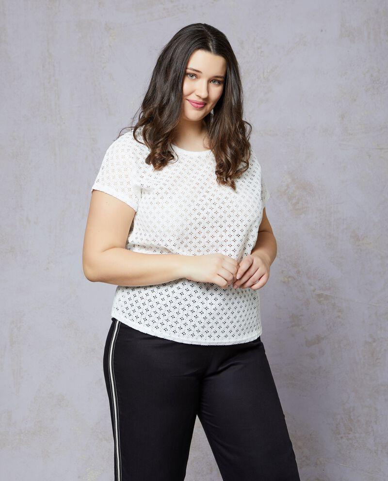 T-shirt in cotone bianca traforata Curvy
