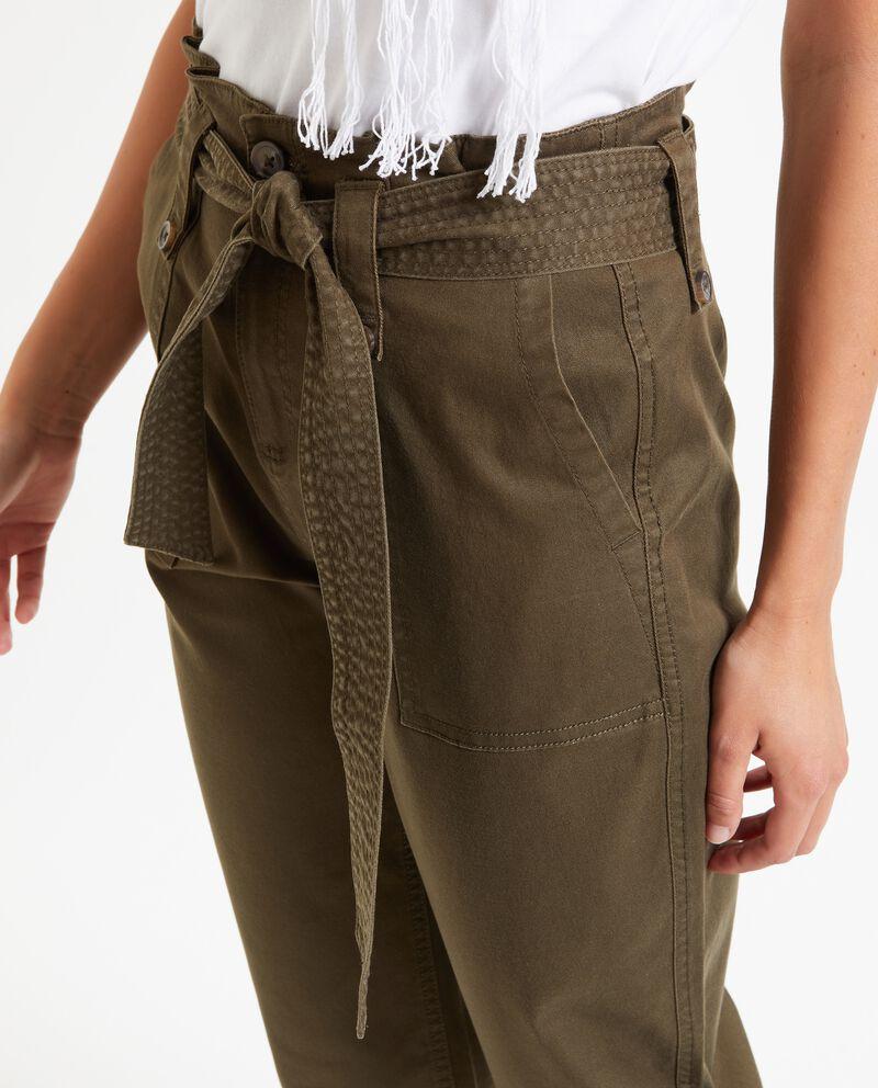 Pantaloni in tinta unita a vita alta donna
