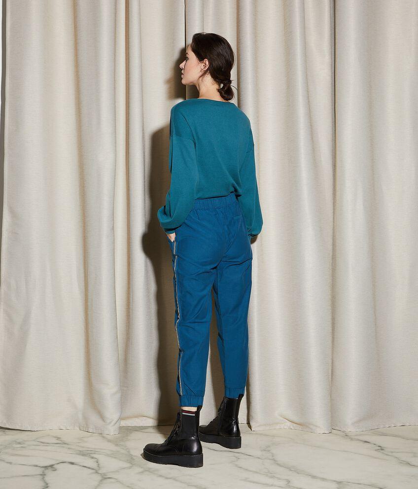 Pantaloni con bande laterali in filo lurex donna