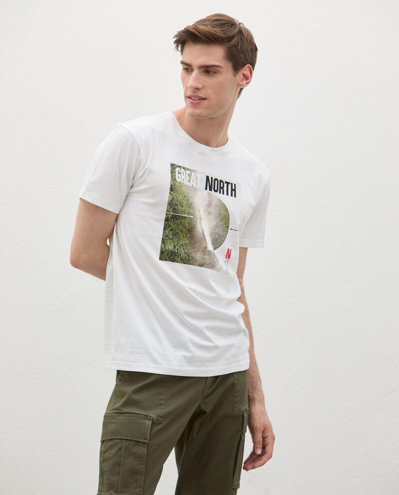 T-shirt in cotone organico con stampa fotografica uomo cover