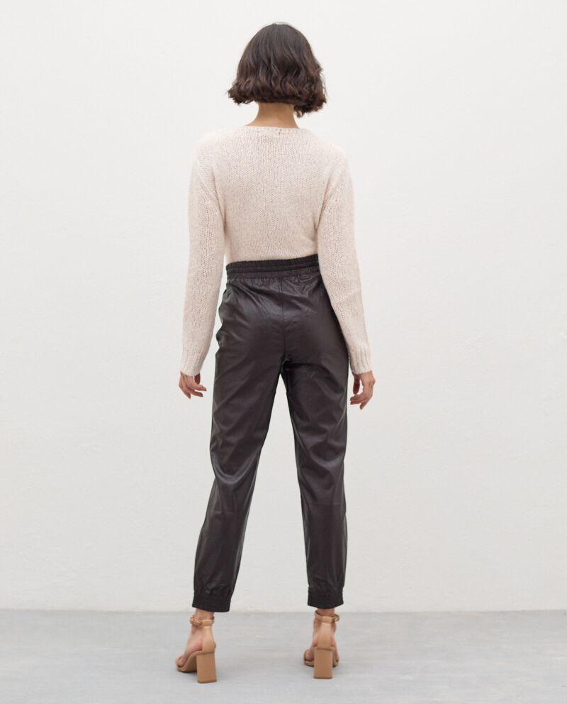 Pantaloni in eco pelle con coulisse donna single tile 1
