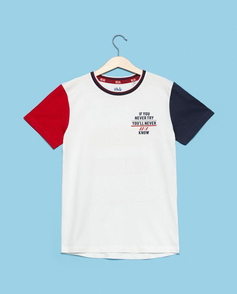 T-shirt in puro cotone con maniche a contrasto