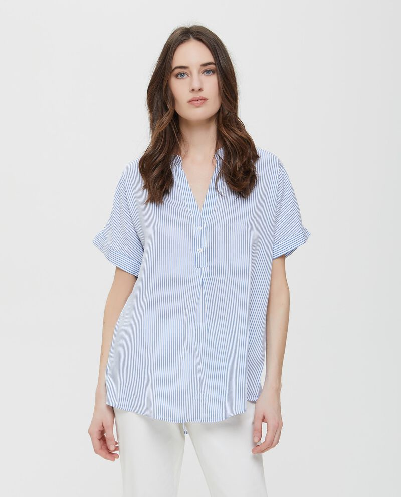 Camicia in pura viscosa a righe blu