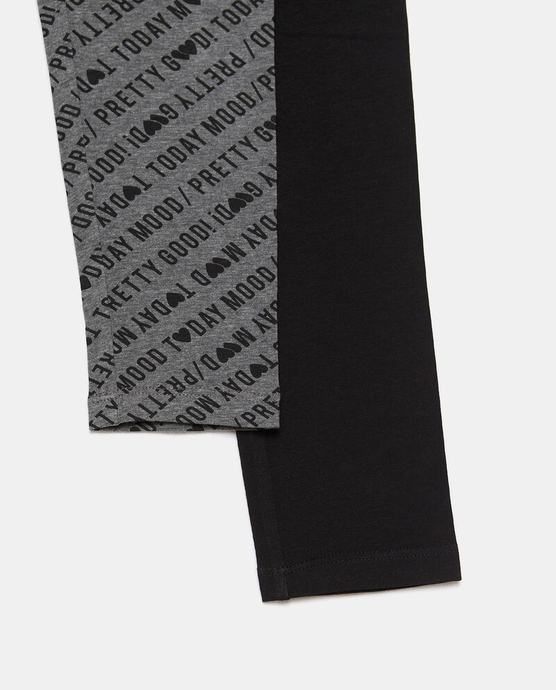 Bipack di 2 leggings cotone biologico stretch ragazza single tile 1