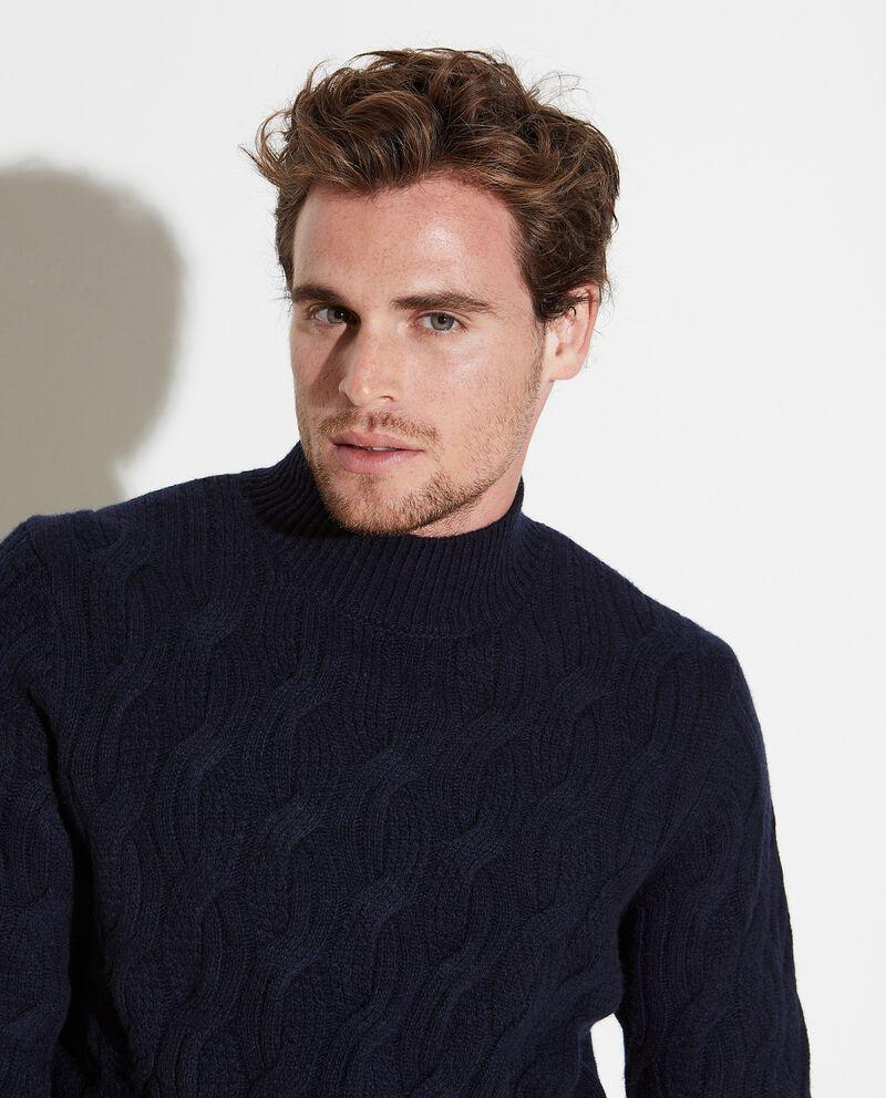 Maglione misto lana intrecciato uomo
