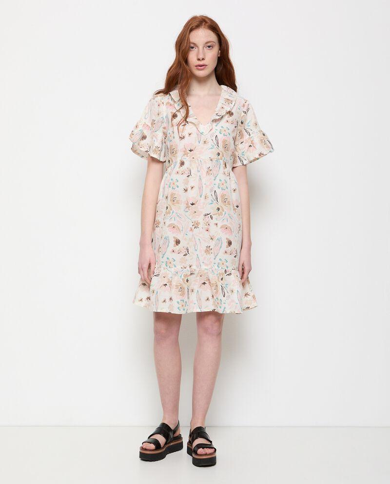 Vestito in cotone misto lino stampato