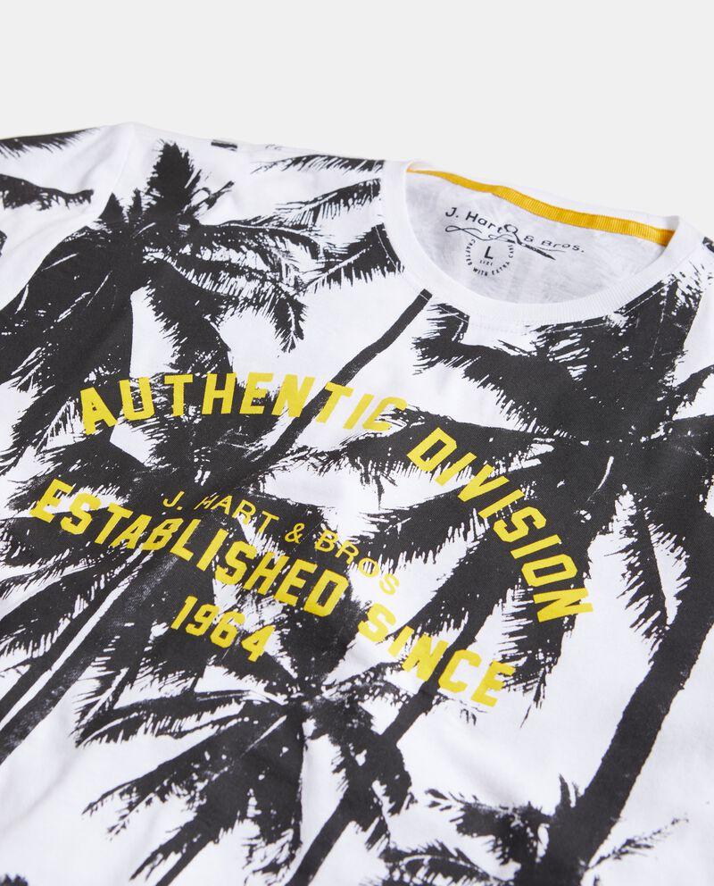 T-shirt in puro cotone con stampa palme uomo