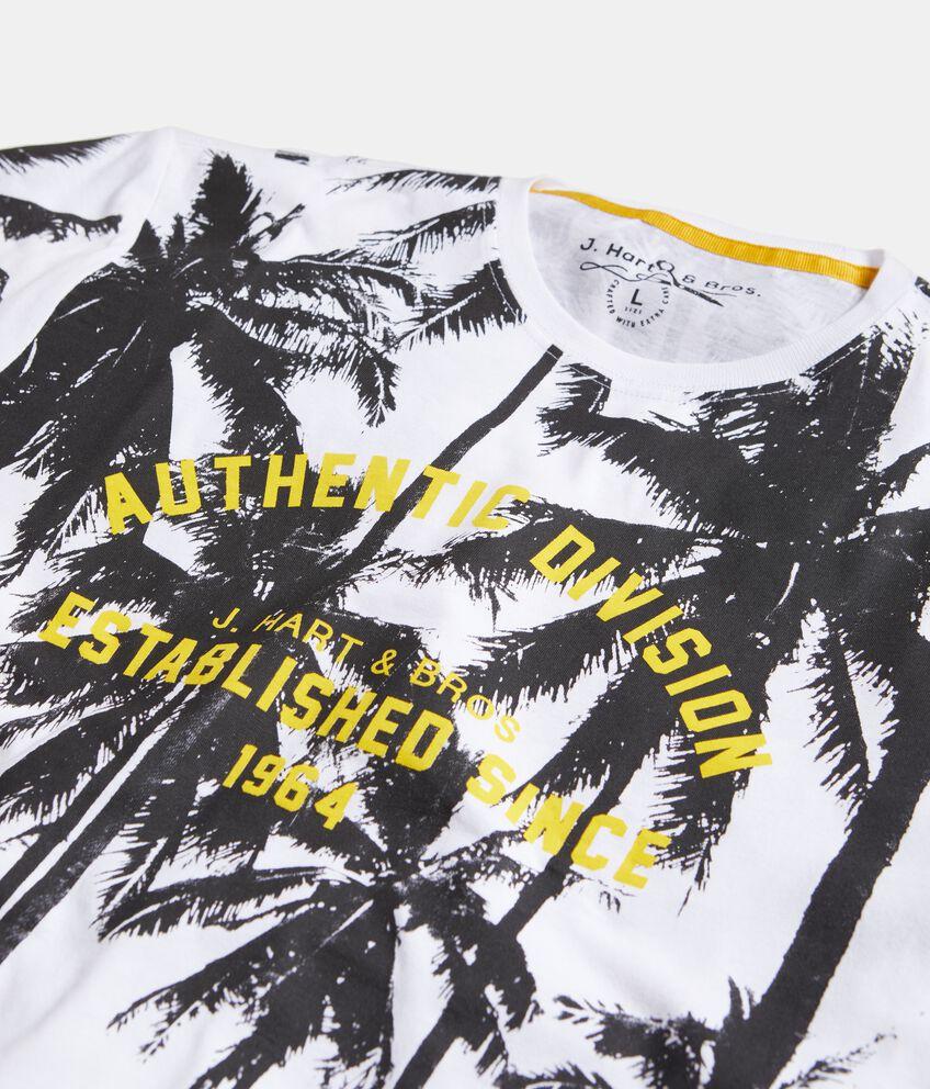T-shirt in puro cotone con stampa palme uomo double 2